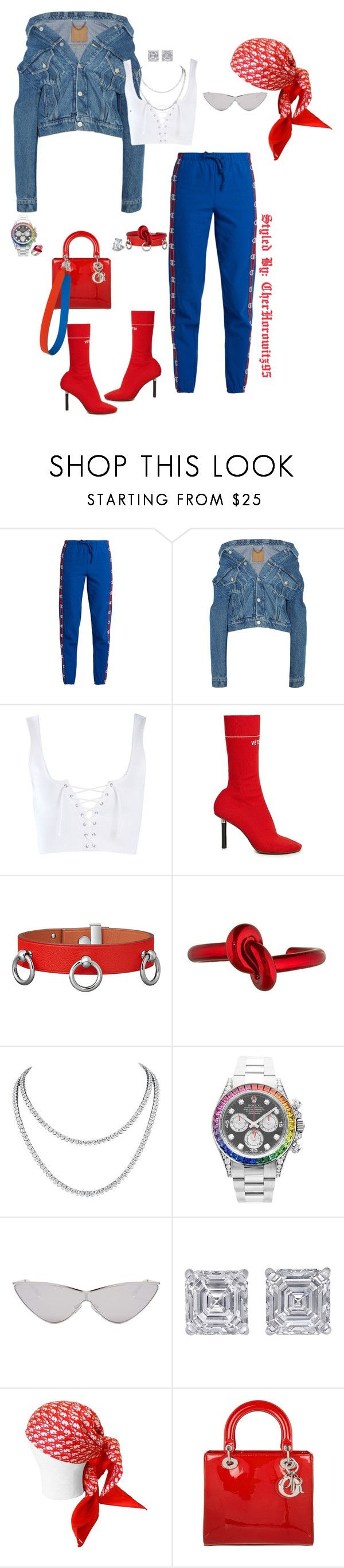 """""""Untitled #836"""" by cherhorowitz95 ❤ liked on Polyvore featuring Vetements, Balenciaga, Topshop, Chopard, Rolex, Le Specs, Jewels by Viggi, Christian Dior, Fendi and Lydia Courteille"""