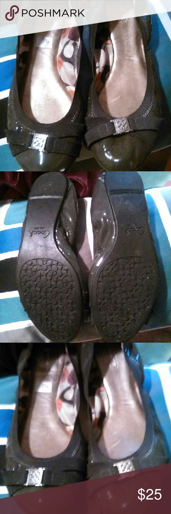 Coach flats super cute!! In perfect condition coach flats in olive color. Coach Shoes Flats & Loafers