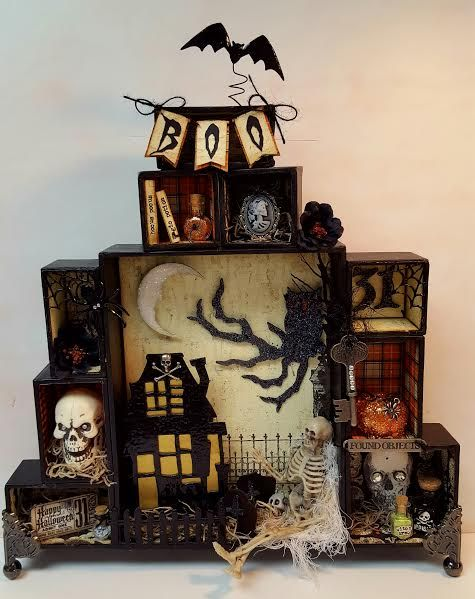 Halloween altered configurations shadowbox shadow box, Tim Holtz embellishments…