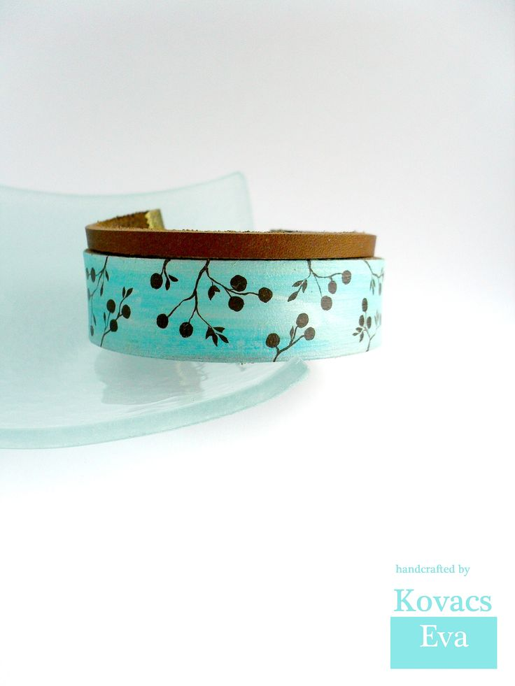 Light blue,dark brown leather bracelet,cuff. Hand painted berries.