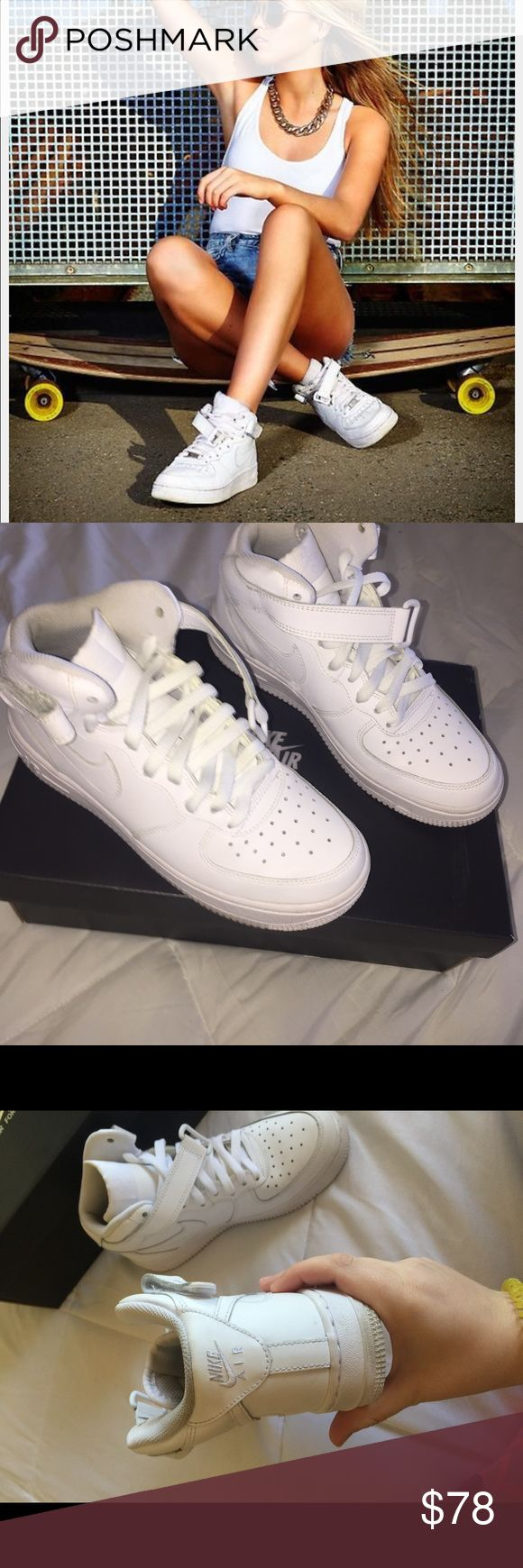 Nike Air Force One Mid Like new Air Force one mids. Worn very few times still super white!!! They're youth size 5.5, but will fit women's 7.5 or 8. Nike Shoes Sneakers