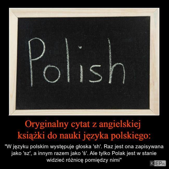 Oryginalny cytat z angielskiej książki do nauki języka polskiego. W języku polskim występuje głoska...