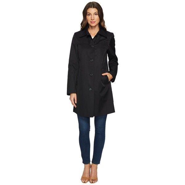 LAUREN Ralph Lauren Single-Breasted Shirt Collar w/ Front Shields... ($160) ❤ liked on Polyvore featuring outerwear, coats, water resistant trench coat, trench coat, lined trench coat, collar coat and water resistant coat