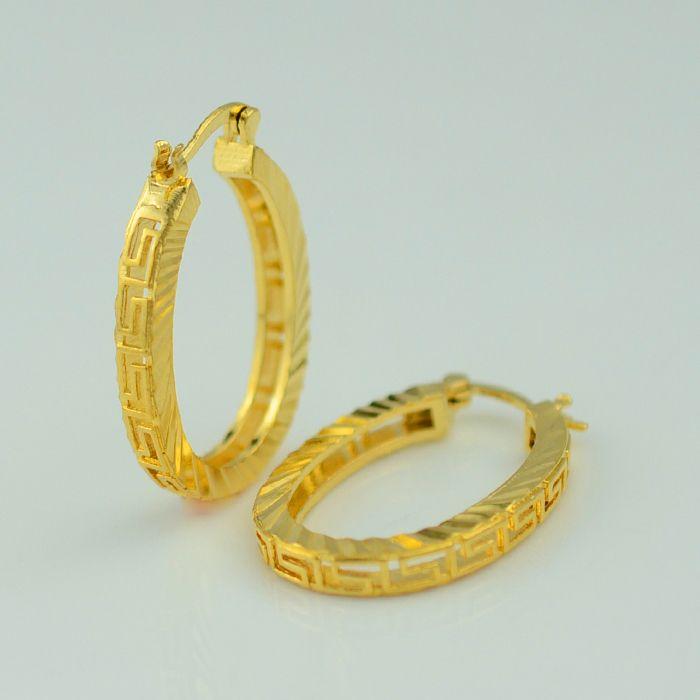GREEK KEY Gold earrings women - gold plate jewelry arab earring/Middle Eastern/Africa Earring/Indian/Brazilian/Dubai Jewellery
