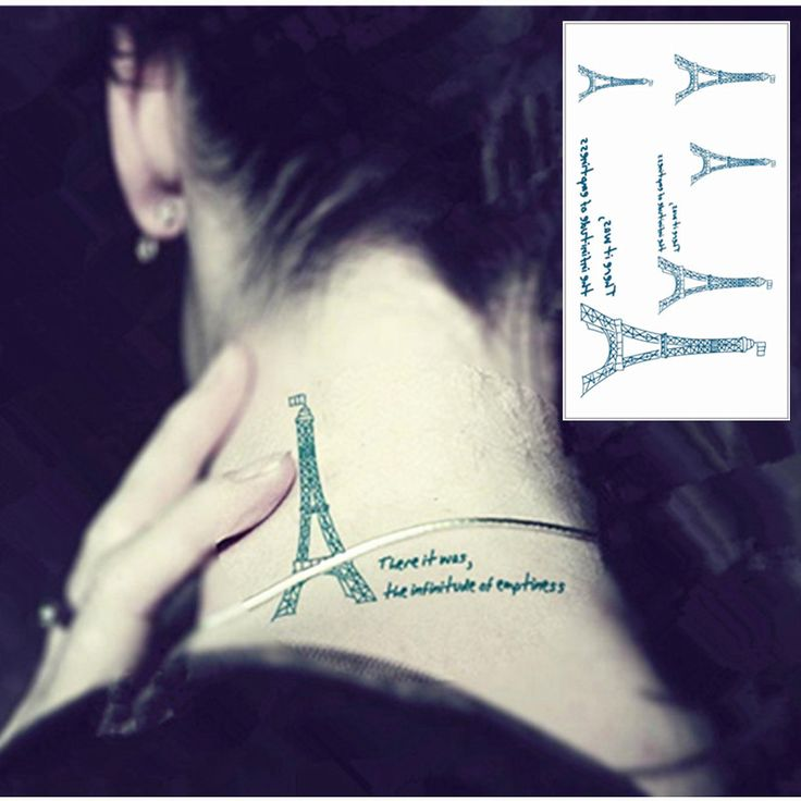 25 Style Mini Temporary Tattoo Body Art, Eiffel Tower Designs, Flash Tattoo Sticker Keep 3-5 days Waterproof 10.5*6cm