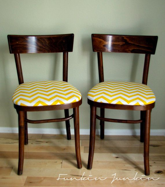 Vintage Thonet Bentwood Cafe Chairs With Yellow Amp White