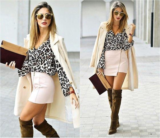 Get this look: http://lb.nu/look/7818296  More looks by Ma Petite By Ana: http://lb.nu/mapetitebyana  Items in this look:  Alain  Afflelou Ferrolterra Sunglasses, Chicwish Skirt   #chic #elegant #preppy #overtheknee #blazer #oversize #skirt #pinkskirt #animalprint