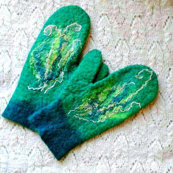 Felted mittens Christmas gift for mother green gloves for