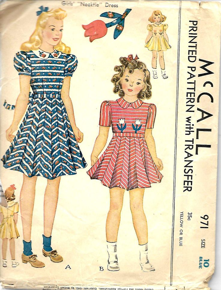 1940's McCall's 971 Girls Size 10 Necktie Dress Pattern, Transfer Included by DawnsDesignBoutique on Etsy