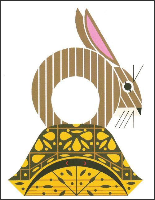 Charley Harper, (1922-2007), rabbit on tortoise