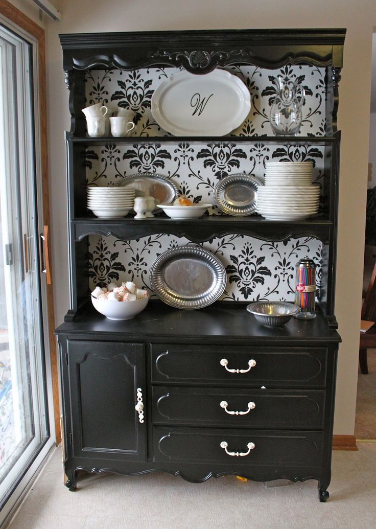 115th PoPP Spotlight Black HutchWhite CabinetBlack China CabinetsBlack Painted FurnitureFurniture RedoPainted HutchHutch IdeasDining Rooms