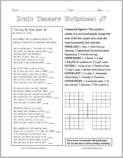 Brain Teasers Worksheet 7 Head scratchers kids will