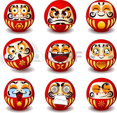japanese: Дарума Кукла Дарума, Дхарма куклы, Дхарма, круглые, традиционная японская кукла, Бодхидхарма, дзен, бородатый мужчина, удачи, талисман, символ, символ упорства, популярный подарок, поощрения, храмы, монах, буддийский монах, медитация. Векторная иллюстрация корзину