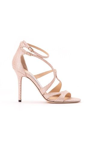 Jimmy Choo woman nude pearlised python printed leather sandals - LuxuryProductsOnline