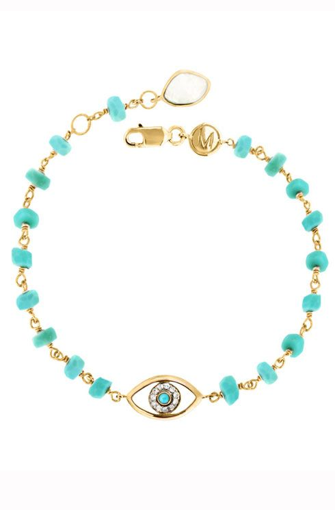 Missoma's Gold vermeil amethyst Evil Eye charm bracelet :: The Best Holiday Jewellery