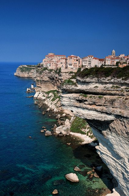 Upper Town of Bonifacio and its white limestone cliffs, Bonifacio, Corsica, France   http://www.pinterest.com/adisavoiaditrev/