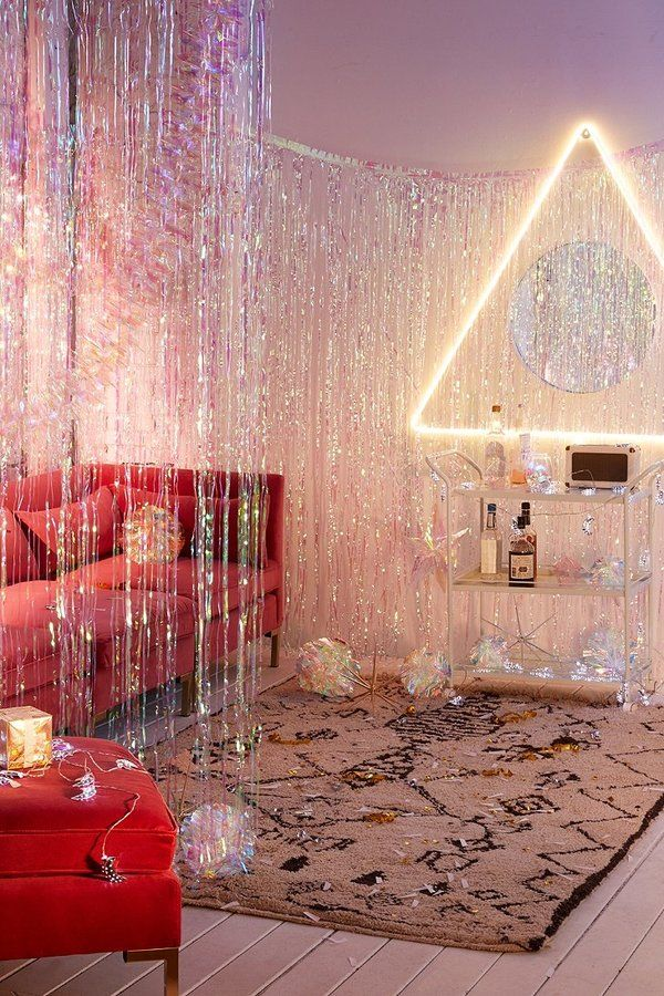 Iridescent Fringe Curtain Decor