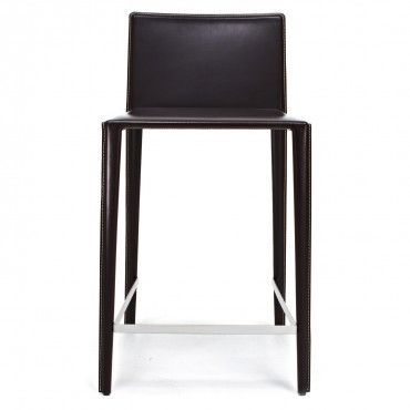 arper brown norma leather bar stool