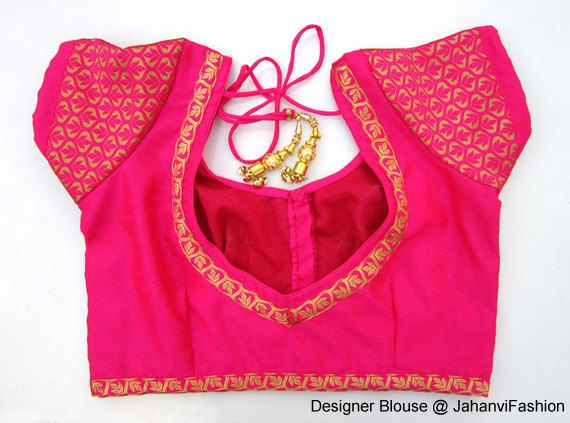 Readymade Dipin Blouse with chanderi sleeves - All Sizes - Sari Blouse - Saree Top - Sari Top - For Women - designer saree blouse by JahanviFashionShop on Etsy