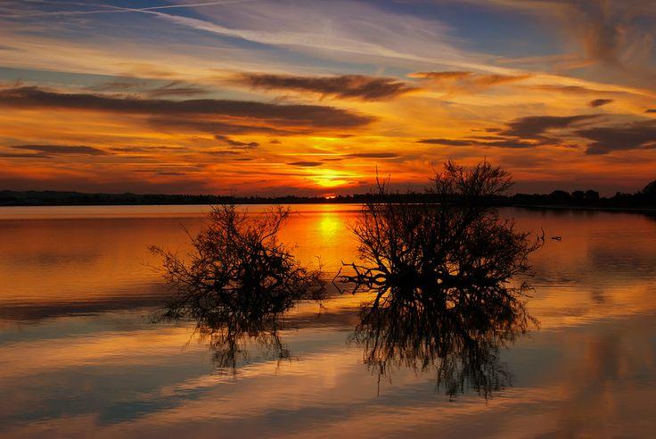 Sunset at salt lake in Tigaki village Kos island Greece