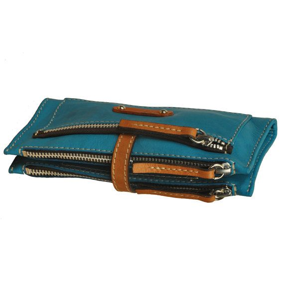 Handmade Women's leather Wallet in turqouise by iyiamihandbags