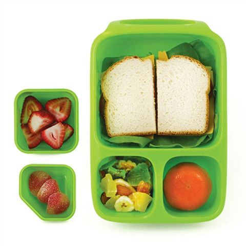 Goodbyn Hero Lunchbox + 2 Leakproof Dippers - Green, available in NZ from www.thelunchboxqueen.co.nz