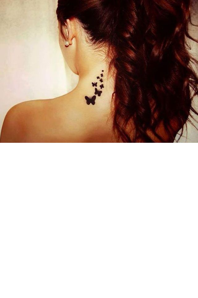 papillon tatouage cou
