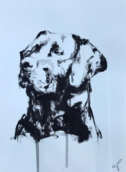 "Sweeter than honey & biscuits!  ""Biscuit"" by Carrie Penley.  8 x 6 inches. Acrylic on paper. SOLD #doglovers #black #white #labs #labradors"