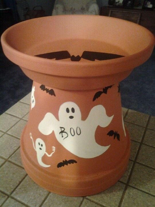 Clay pot candy dish for halloween