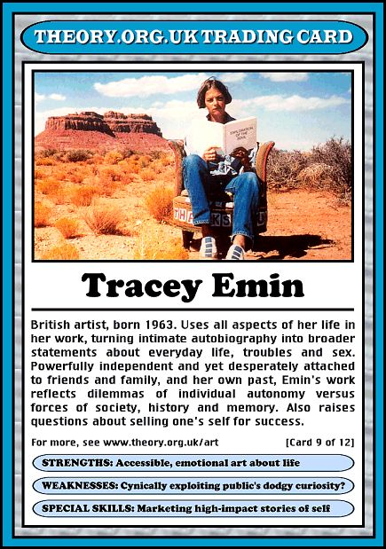 Tracey Emin - Theory.org.uk trading cards