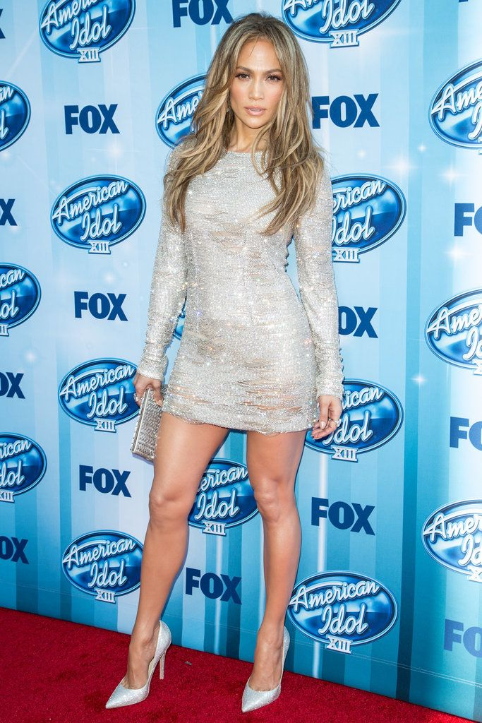 J-Lo in a silver minidress at the American Idol premiere in 2014.