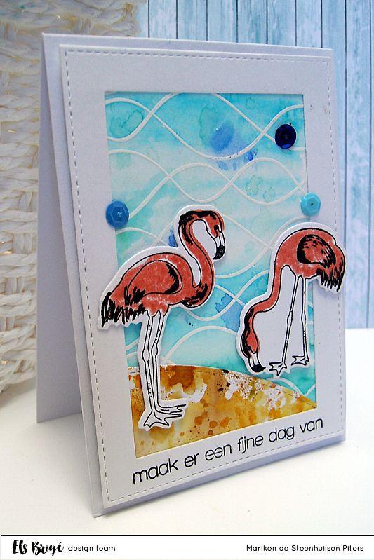 Flamingo's on the beach door Mariken de Steenhuijsen Piters voor Els Brigé design