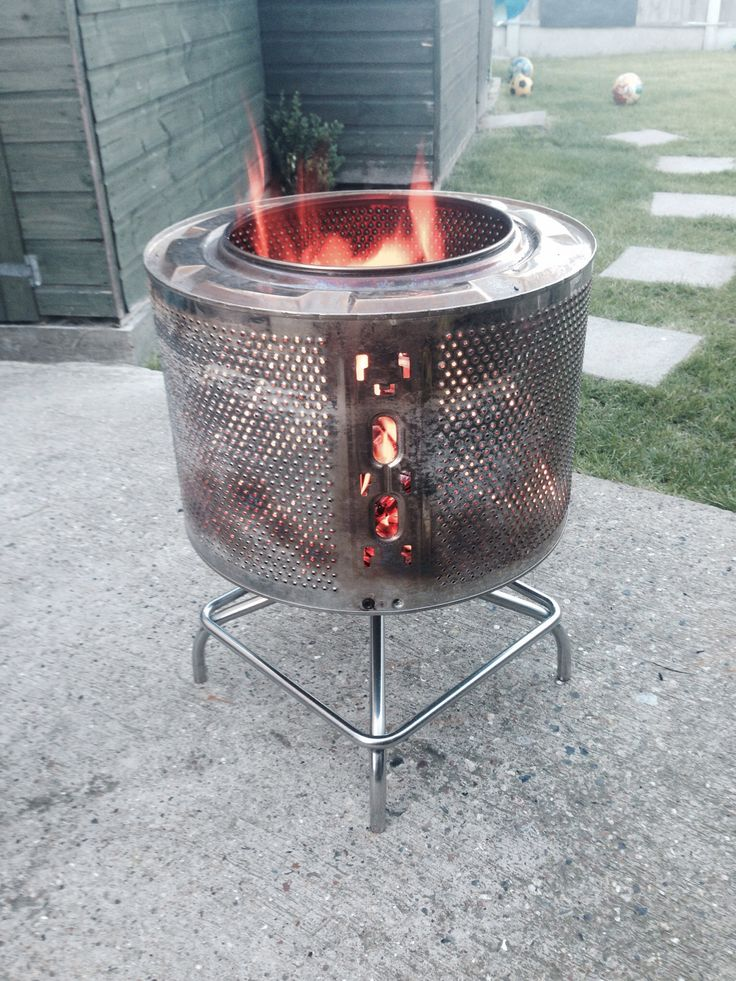 new fire pit washing machine drum and stainless steel stool base diy crafts and projects. Black Bedroom Furniture Sets. Home Design Ideas