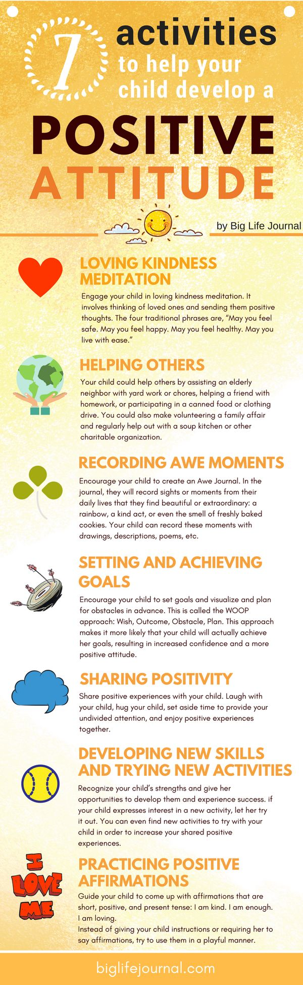 A list of seven highly effective activities (based on research) to help your child develop a positive attitude.