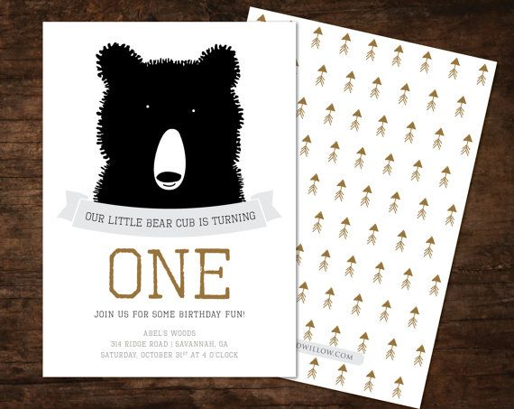 """Bear Cub"" first birthday party invitations // This would be so cute for a future Baylor Bear!"