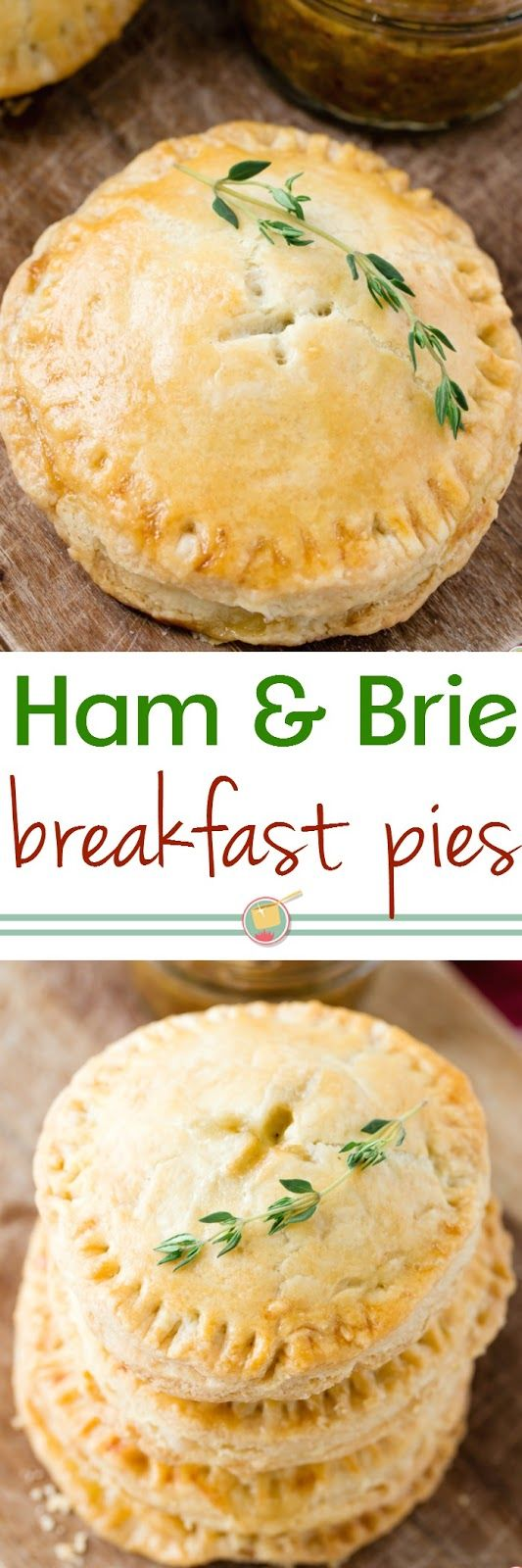 Now you can have pie for breakfast with these Ham and Brie Hand Pies with a tangy fig jam and stone ground mustard spread!