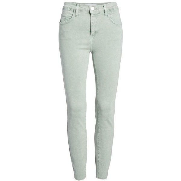Women's Current/elliott The High Waist Ankle Skinny Jeans ($198) ❤ liked on Polyvore featuring jeans, iceberg green, cropped jeans, high waisted cropped jeans, high rise jeans, high-waisted skinny jeans and green skinny jeans