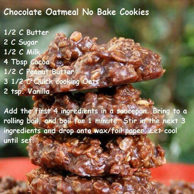 No bake chocolate peanut butter oatmeal cookies                                                                                                                                                                                 More