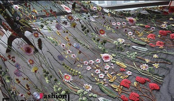"1 yard hoge kwaliteit Venetië Lace stof zwart Tule bloemen exquise Alice Embroidered bruiloft Bridal 51"" breedte"