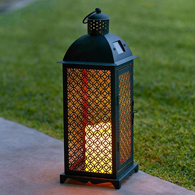 Lights4fun Inc Moroccan Solar Powered Led Outdoor Fully Weatherproof Garden Patio Flameless Candle Lant With Images Garden Candle Lanterns Solar Lanterns Solar Candles
