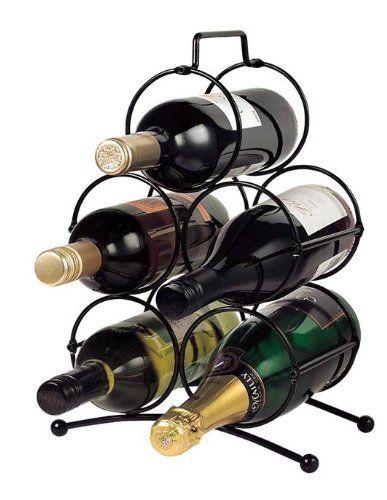 "Sloane & Ebury - Portabottiglie ""Veneto"" da vino in ferro piccolo/medio, nero"