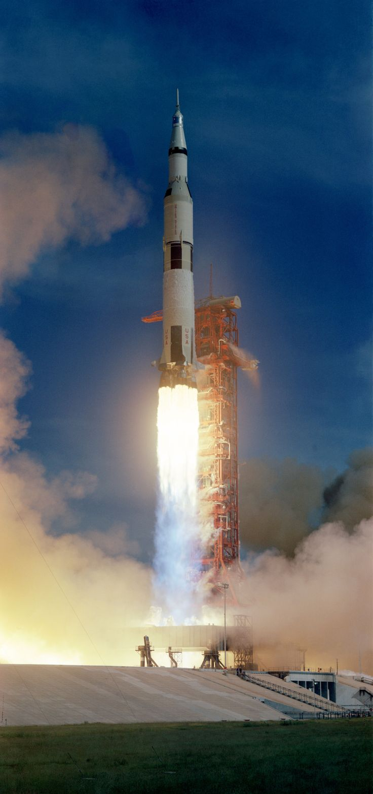 """Apollo 15 begins its journey to the Moon, July 26, 1971. (NASA) """