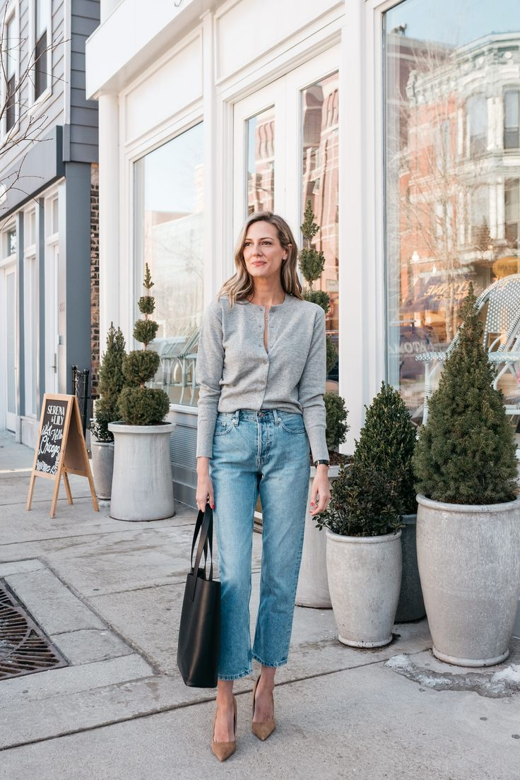 the cardigan is back how to wear with jeans
