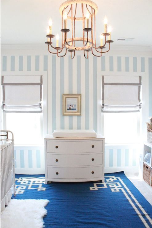 White And Blue Boy S Nursery Features Blue And White Striped