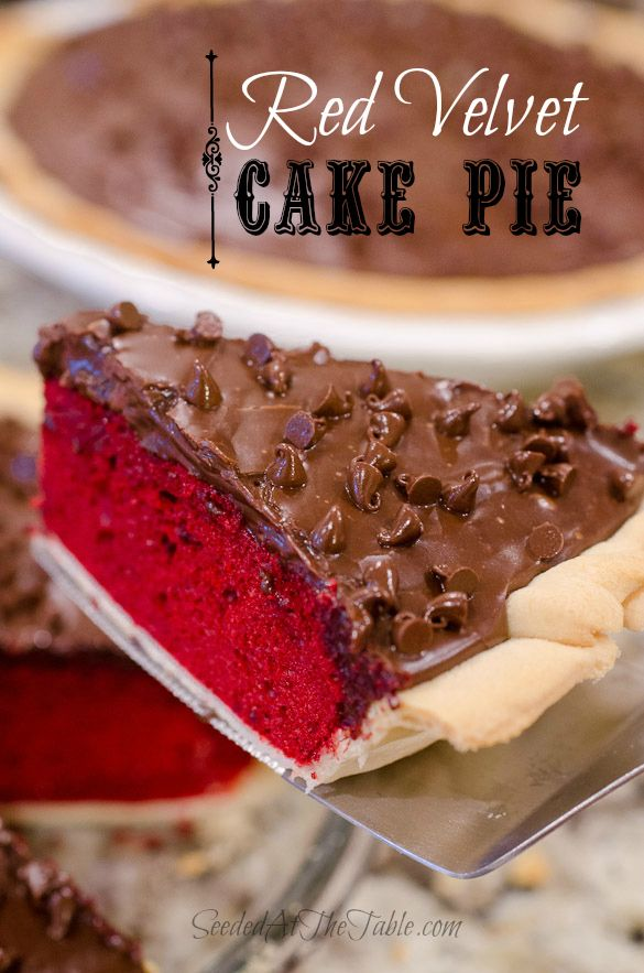 Red Velvet Cake Pie with a chocolate fudge icing