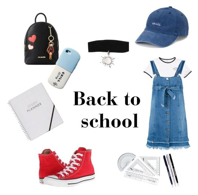 Back to school by mariastoica on Polyvore featuring polyvore fashion style Steve J & Yoni P Vans Converse Love Moschino Hot Topic SO clothing