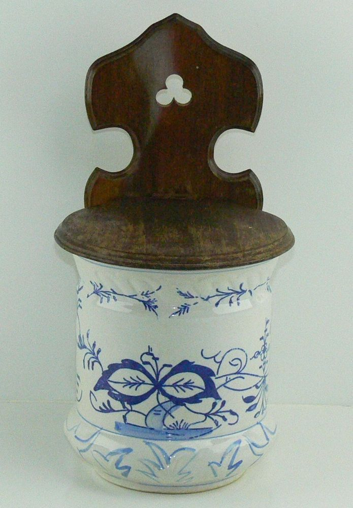 Vintage Salt Box Blue Onion Pattern Stoneware And Wood