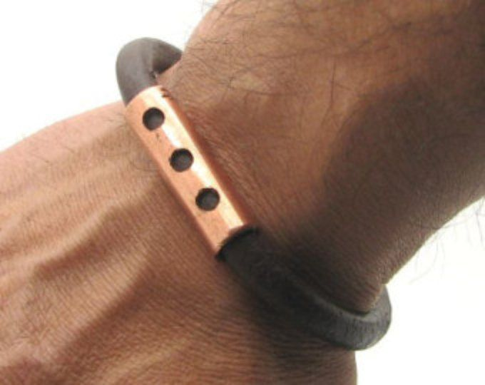 Cobre pulsera de EXPRESS SHIPPING cuero pulsera de cuero marrón pulsera hombres para hombre con cierre antiguo
