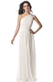 simple one-shoulder wedding dress