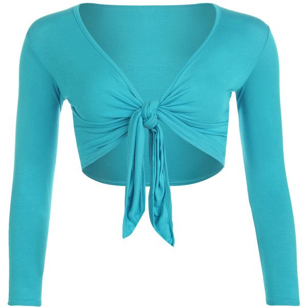 WearAll Plus Size Long Sleeve Plain Tied Shrug ($15) ❤ liked on Polyvore featuring turquoise, cardigan shrug, blue shrug, tie front shrug, plus size womens shrugs and tie shrug
